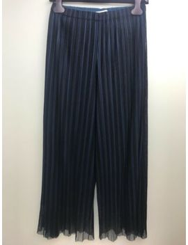 Pleats Please Issey Miyake Black/Navy Double Layered Trousers/Culottes. Sz 4 by Issey Miyake