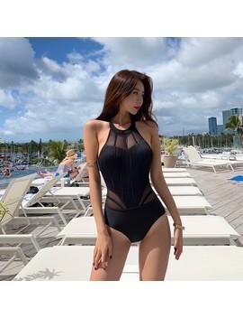 One Piece Swimsuits Bikinis Female 2019 Women's Beach Outings Swimwear One Piece Thai Sexy Black Mesh Neck Swimsuit Patchwork by Ali Express.Com
