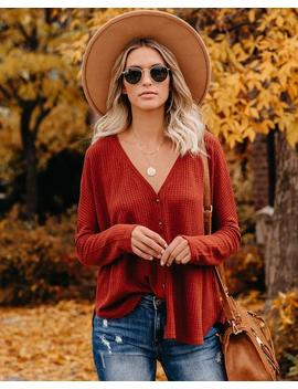 Miriam Button Down Knit Top   Merlot by Vici