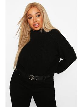 Plus High Neck Batwing Chunky Knit Jumper by Boohoo