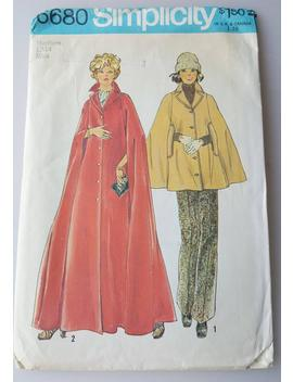Sewing Pattern 1970s Simplicity 6680 Lined Cape In Two Lengths Sz M 12 14 by Etsy