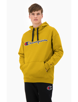 Suede Script Logo Cotton Terry Hoodie by Champion