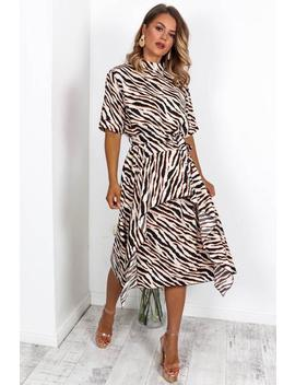Sweet Wild Of Mine   Midi Dress In Beige/Zebra by Dlsb