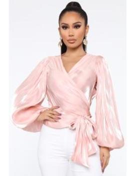 Taking Initiative Wrap Top   Rose by Fashion Nova