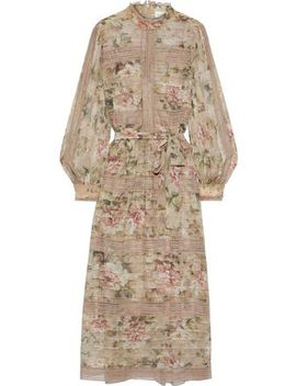 Fleeting Pintuck Lace Trimmed Floral Print Georgette Midi Dress by Zimmermann