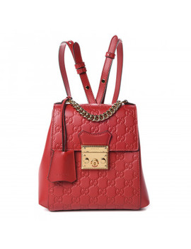 Gucci Guccissima Padlock Signature Backpack Hibiscus Red by Gucci