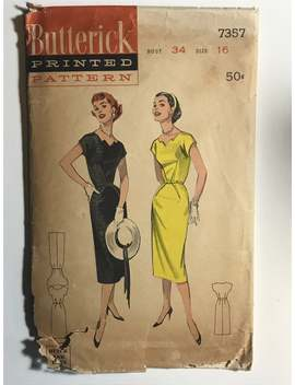 50s Wiggle Dress Sewing Pattern / Vintage 1950s Cut Out Neckline Sheath Dress / Women's Size 16 Bust 34 / Butterick 7357 by Etsy