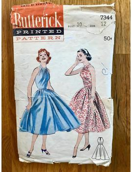 "1950s Fit 'n Flare Dress Pattern / Vintage 50s ""Shoulder Showing"" Dress / Women's Size 12 Bust 30 / Butterick 7344 by Etsy"