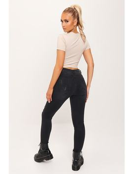 Black Push Up High Waist Distressed Skinny Jean by I Saw It First