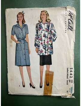 1940s Smock Dress Sewing Pattern / Vintage 40s Women's Smock / Size Small   12 14 Bust 30 32 / Mc Calls 5442 / Rare Find by Etsy