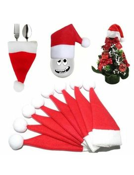 10 Pcs Christmas Hat Silverware Holder Mini Red Santa Claus Cutlery Party Decor by Unbranded