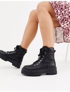 Bershka Lace Front Hiker Boots In Black by Bershka