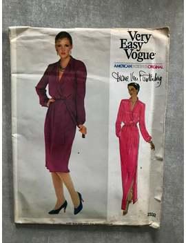 Diane Von Furstenberg Mock Wrap Dress / Gown Sewing Pattern / Very Easy Vogue 2332 / Women's Size 8 Bust 31 1/2 / Vintage 1980s by Etsy