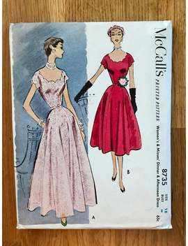 1950s Dinner & Afternoon Dress Sewing Pattern / Vintage 50s Scalloped Neck Evening Gown / Cocktail Dress / Size 18, Bust 36 / Mc Call 8735 by Etsy
