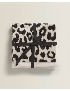 Leopard Print Cotton Towel (Pack Of 3) Towels   Bathroom by Zara Home