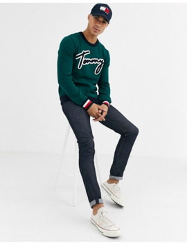 Tommy Hilfiger Lawson Knit Sweater In Green by Tommy Hilfiger