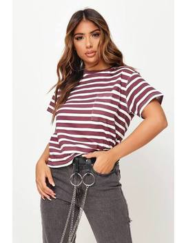 Burgundy Stripe Pocket Front Cotton T Shirt by I Saw It First