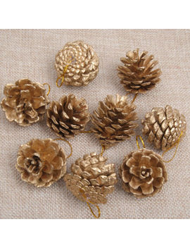 New 9 Pcs Christmas Gold Pine Cones Baubles Xmas Tree Decorations Ornaments Decor by Unbranded