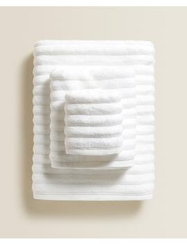 Extra Soft Towel With Raised Wave Design Towels   Bathroom by Zara Home
