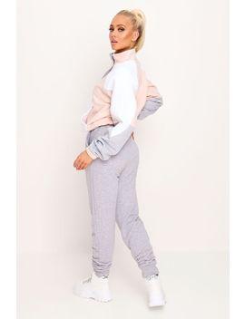 Dusky Pink Loopback Contrast Block Half Zip Sweatshirt by I Saw It First
