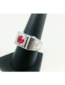Men's Flat Top Solitaire Ring, Ruby Red Solitaire, Men's Cigar Ring, Sterling Silver Textured Edges, Signed Sterling Lind, Vintage 1960's by Etsy