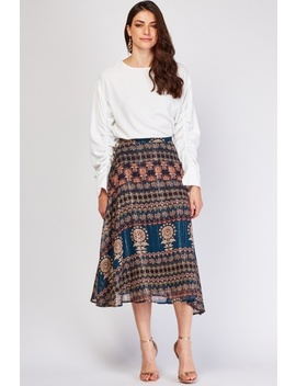 Ethnic Printed Metallic Midi Skirt by Everything5 Pounds