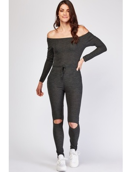 Ribbed Knit Off Shoulder Jumpsuit by Everything5 Pounds