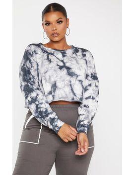 Plus Grey Tie Dye Crop Sweater by Prettylittlething