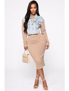 Switching Knit Up Sweater Set   Mocha by Fashion Nova