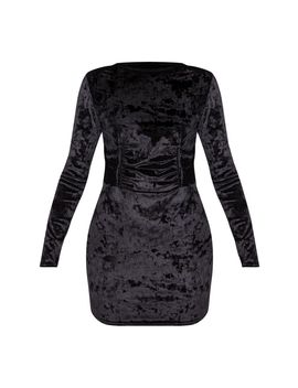 Black Velvet Ruched Binding Detail Long Sleeve Bodycon Dress by Prettylittlething