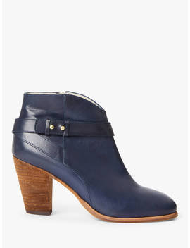 Boden Stratford Leather Heeled Ankle Boots, Navy by Boden