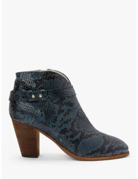 Boden Stratford Leather Heeled Ankle Boots, Navy Snake by Boden