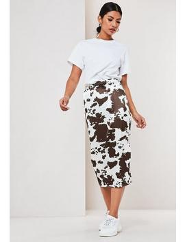 White Cow Print Satin Slip Skirt by Missguided