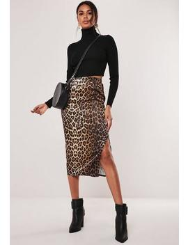 Brown Leopard Print Satin Slip Skirt by Missguided