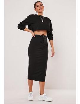 Black Drawstring Jersey Midi Skirt by Missguided