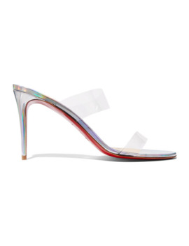 Just Nothing 85 Pvc And Metallic Leather Mules by Christian Louboutin