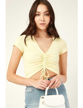 Rib Cinch Front Top Yellow by Luck & Trouble