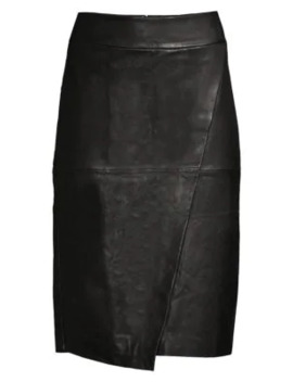 Seamed Leather Pencil Skirt by Donna Karan New York