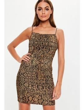 Gold Animal Plisse Strappy Bodycon Mini Dress by Missguided