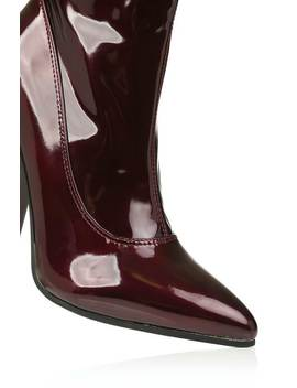 Wine Vinyl Heeled Sock Boots With Pointed Toe by I Saw It First