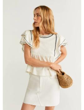 Блузка с вышивкой и воланами by Mango