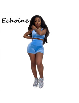 Echoine 2 Piece Set Women Tracksuit Diamond Decor Sportwear Crop Top + Short Pants O Neck Bodycon Summer Clothes For Women by Ali Express.Com