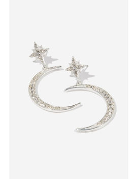 Sparkle Lunar Dia Earring by Cotton On