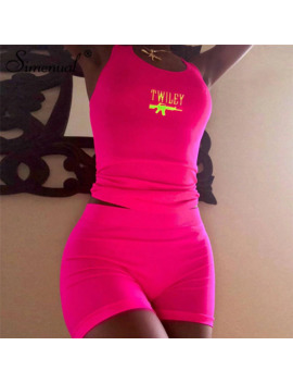 Simenual Letter Embroidery 2 Piece Set Women Casual Neon Color Tracksuits Summer Streetwear Crop Top And Shorts Sets Fashion New by Ali Express.Com