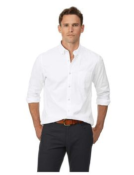 Slim Fit Button Down Washed Oxford White Shirt by Charles Tyrwhitt