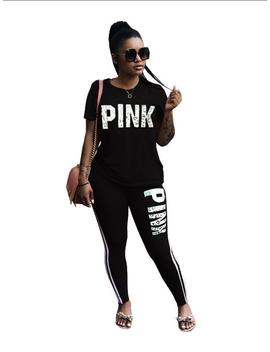 2pcs Women Tracksuit Set Pullover Sweatshirts Sport Suits Stripes Sport Lounge Wear Short Sleeves Top Pants T Shirt Trousers Plus Size For Women by Sexy Dance