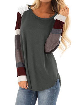 Women Striped Long Sleeve Tunic Tshirt by 711 Onlinestore