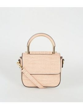 Camel Faux Croc Shoulder Bag by New Look