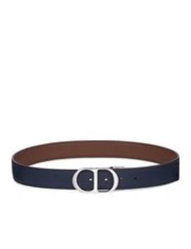 Cintura Cd In Pelle Di Vitello Marrone E Blu Navy by Dior