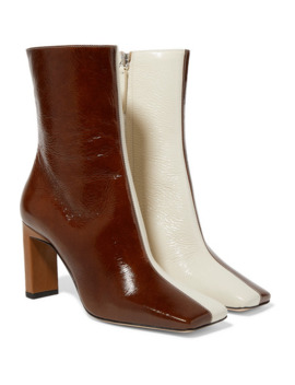 Isa Two Tone Crinkled Patent Leather Ankle Boots by Wandler
